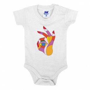 Baby bodysuit Colorful hand with eye