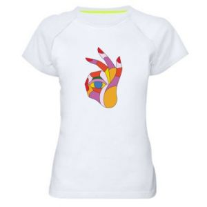 Women's sports t-shirt Colorful hand with eye