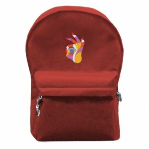 Backpack with front pocket Colorful hand with eye - PrintSalon