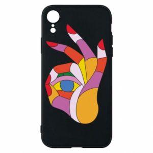 Etui na iPhone XR Colorful hand with eye
