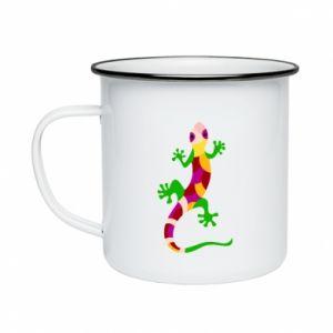 Enameled mug Colorful lizard - PrintSalon