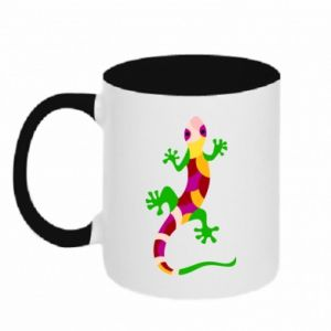 Two-toned mug Colorful lizard - PrintSalon