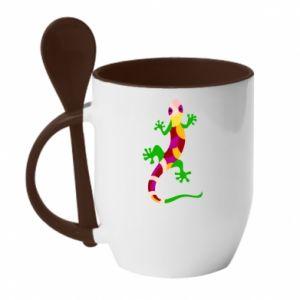 Mug with ceramic spoon Colorful lizard - PrintSalon