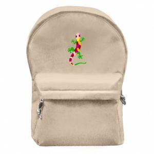 Plecak z przednią kieszenią Colorful lizard