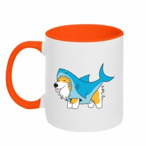 Kubek dwukolorowy Corgi Disguise as Shark
