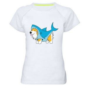Damska koszulka sportowa Corgi Disguise as Shark