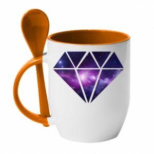 Mug with ceramic spoon Cosmic crystal