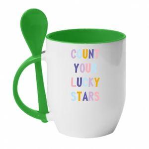 Kubek z ceramiczną łyżeczką Count your lucky stars