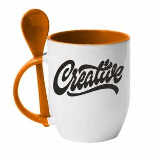 Kubek z ceramiczną łyżeczką Creative
