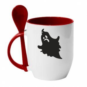Mug with ceramic spoon Crooked face - PrintSalon