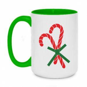 Two-toned mug 450ml Christmas Cane Candies