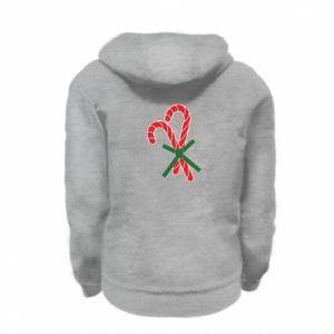 Kid's zipped hoodie % print% Christmas Cane Candies