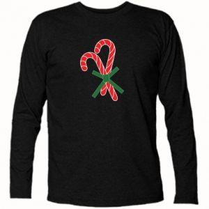 Koszulka z długim rękawem Cukierki z trzciny bożonarodzeniowej