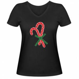 Damska koszulka V-neck Cukierki z trzciny bożonarodzeniowej