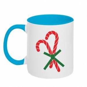 Two-toned mug Christmas Cane Candies