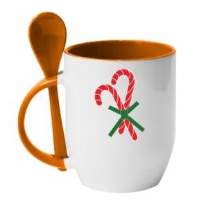 Kubek z ceramiczną łyżeczką Cukierki z trzciny bożonarodzeniowej