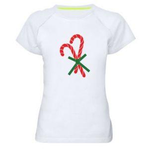 Damska koszulka sportowa Cukierki z trzciny bożonarodzeniowej
