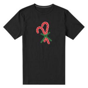 Męska premium koszulka Cukierki z trzciny bożonarodzeniowej
