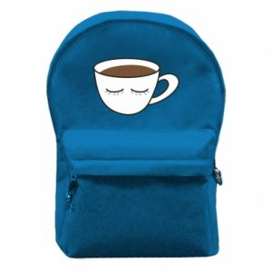 Backpack with front pocket Cup of coffee with closed eyes