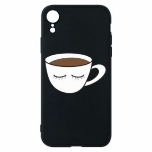 Phone case for iPhone XR Cup of coffee with closed eyes - PrintSalon