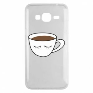 Phone case for Samsung J3 2016 Cup of coffee with closed eyes - PrintSalon