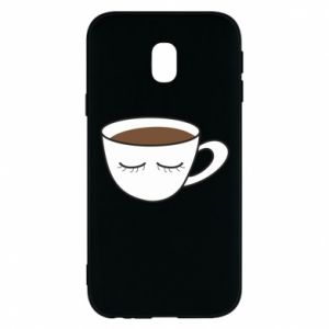 Phone case for Samsung J3 2017 Cup of coffee with closed eyes - PrintSalon