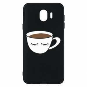 Phone case for Samsung J4 Cup of coffee with closed eyes - PrintSalon
