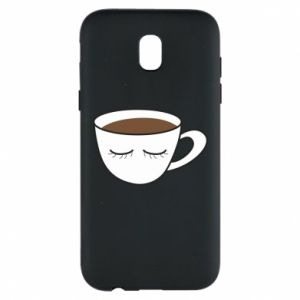 Phone case for Samsung J5 2017 Cup of coffee with closed eyes - PrintSalon