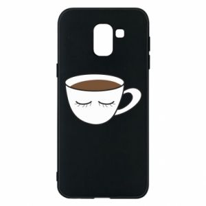 Phone case for Samsung J6 Cup of coffee with closed eyes - PrintSalon