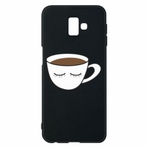 Phone case for Samsung J6 Plus 2018 Cup of coffee with closed eyes - PrintSalon