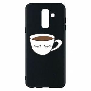 Phone case for Samsung A6+ 2018 Cup of coffee with closed eyes - PrintSalon