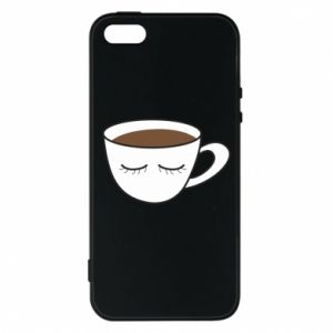 Phone case for iPhone 5/5S/SE Cup of coffee with closed eyes