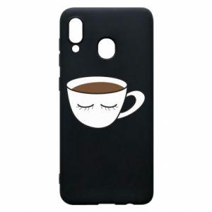 Phone case for Samsung A20 Cup of coffee with closed eyes - PrintSalon