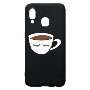 Phone case for Samsung A40 Cup of coffee with closed eyes