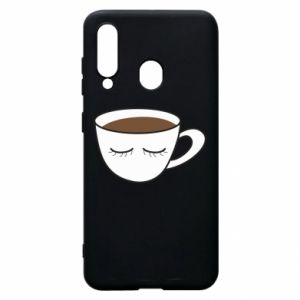 Phone case for Samsung A60 Cup of coffee with closed eyes - PrintSalon