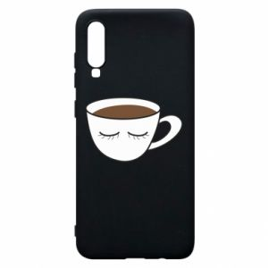 Phone case for Samsung A70 Cup of coffee with closed eyes - PrintSalon