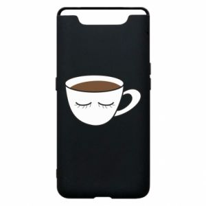 Phone case for Samsung A80 Cup of coffee with closed eyes - PrintSalon