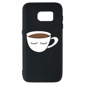 Phone case for Samsung S7 Cup of coffee with closed eyes - PrintSalon