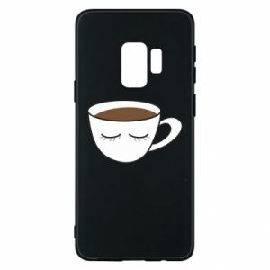 Phone case for Samsung S9 Cup of coffee with closed eyes - PrintSalon
