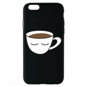 Phone case for iPhone 6/6S Cup of coffee with closed eyes - PrintSalon