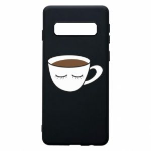 Phone case for Samsung S10 Cup of coffee with closed eyes - PrintSalon
