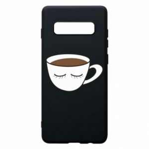 Phone case for Samsung S10+ Cup of coffee with closed eyes - PrintSalon
