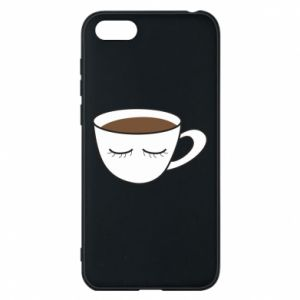 Phone case for Huawei Y5 2018 Cup of coffee with closed eyes - PrintSalon