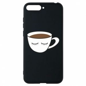 Phone case for Huawei Y6 2018 Cup of coffee with closed eyes - PrintSalon