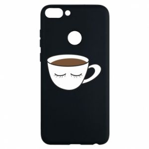 Phone case for Huawei P Smart Cup of coffee with closed eyes - PrintSalon