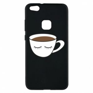 Phone case for Huawei P10 Lite Cup of coffee with closed eyes - PrintSalon