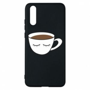 Phone case for Huawei P20 Cup of coffee with closed eyes - PrintSalon