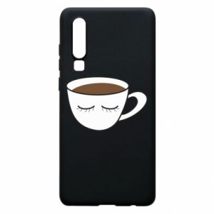 Phone case for Huawei P30 Cup of coffee with closed eyes