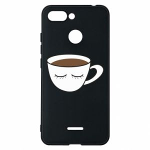 Phone case for Xiaomi Redmi 6 Cup of coffee with closed eyes - PrintSalon