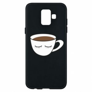 Phone case for Samsung A6 2018 Cup of coffee with closed eyes - PrintSalon